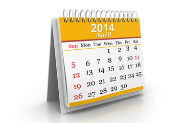 3d illustration of Calendar 2014.