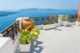 Sea view terrace. Fira, Santorini, Greece - 68473874