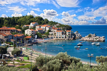 Panoramic view of coastline along the coast of Montenegro.
