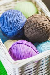 Basket Of Threads For Knitting