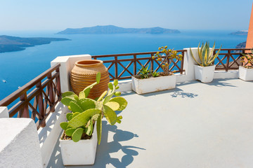 Sea view terrace. Fira, Santorini, Greece