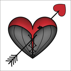 Corset heart with arrow, vector