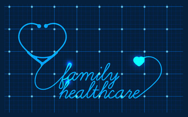 Family healthcare, medical symbol, vector