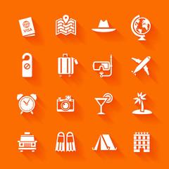 Set of white travel icons.