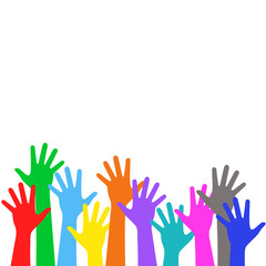 Colorful children is hands lifted upwards