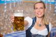 canvas print picture - Frau mit Bierkrug