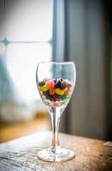colorful candy in Wine Glass