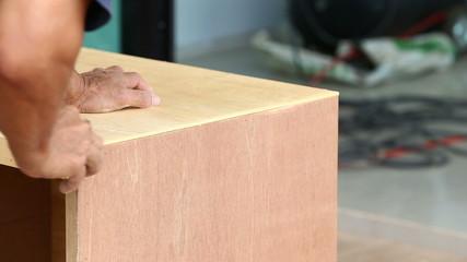 carpenter used planer for make new furniture for house