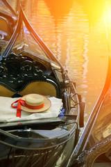 Gondolier's straw hat in boat, Venice