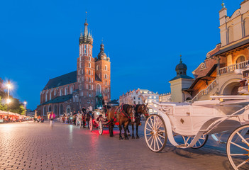 Carriages on The Main Market Square in Krakow