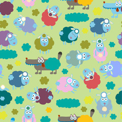 Sheep and wolf pattern in vector