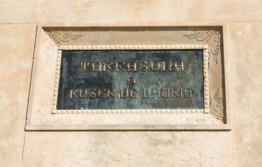 Roger De Lauria Statue Plaque Tarragona Spain
