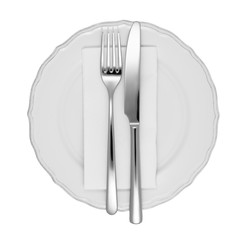 Dinner setting isolated