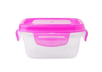 Plastic food box isolated on white background