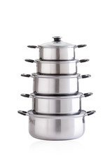 Set of stainless pots with glass lids