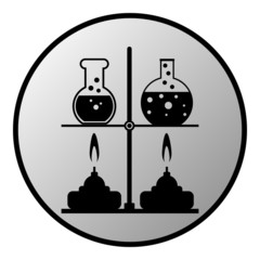 Laboratory burner and flask button