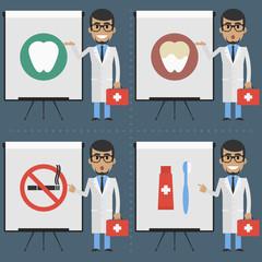 Adult doctor stomatologist indicates on flipchart infographics
