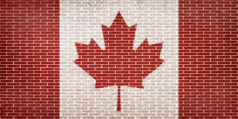 Canadian Flag on Brick Wall