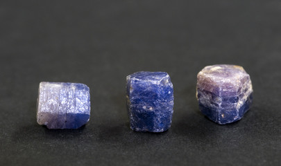 Uncut sapphires from Madagascar. 1cm long.