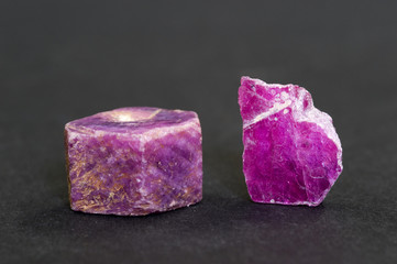 Uncut rubies from Prilep, Macedonia. 1.7cm across.