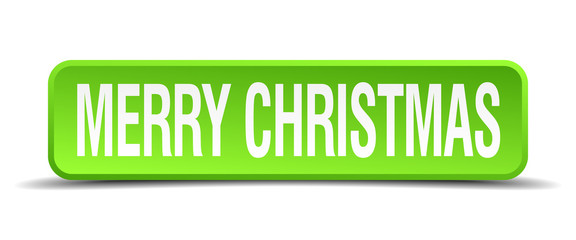merry christmas green 3d realistic square isolated button