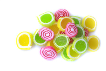Colorful candy striped on white background