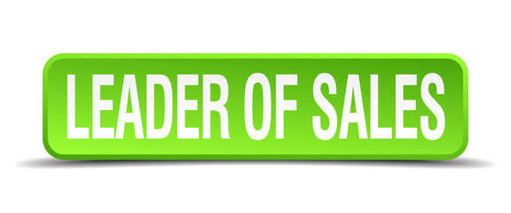 leader of sales green 3d realistic square isolated button