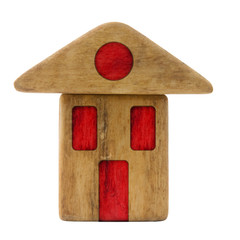 Small wooden house with red windows