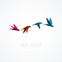 Origami flying swallow vector