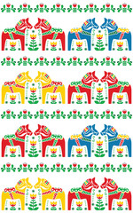 Swedish Dala or Daleclarian horse seamless folk art pattern