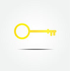 golden key symbol icon vector