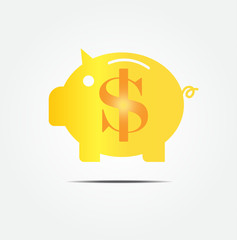 gold piggy bank vector