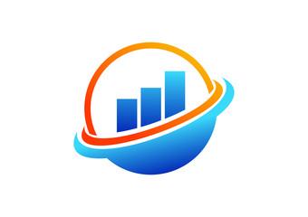 globe, finance success logo, marketing symbol, sphere bank icon