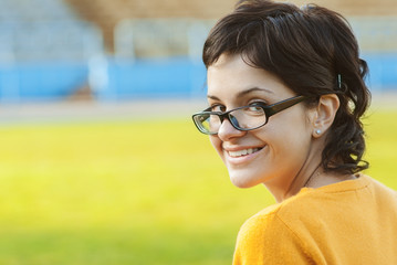 Dark-haired girl in glasses