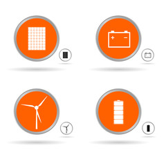 set energy icon in orange circle vector