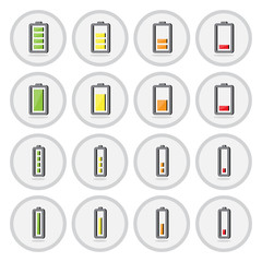 Vector of icon, battery set on isolated background