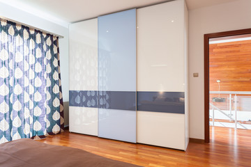Wardrobe in modern bedroom