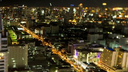 Night Bangkok streets time lapse
