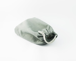 Gray Cotton bag isolated on white background stock photo
