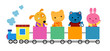 Cute train and animals