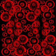 Black and red abstract background with circles