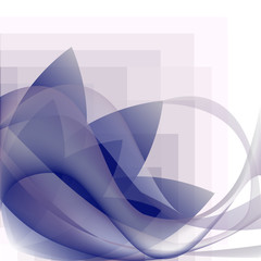 blue waves transparent and flower pattern