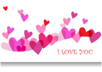 romantic vector card with hearts
