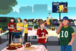 American football fans having a tailgate party - 68480442
