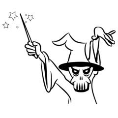 zauberer Zauberstab totenkopf Zauberhut