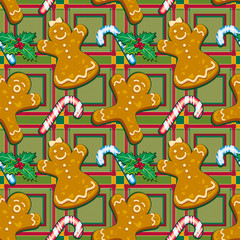 Ginger cookies seamless pattern