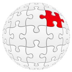 sphère de puzzle avec une pièce rouge