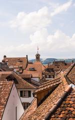 Murten, Altstadt, Rathaus, historische Häuser, Sommer, Schweiz