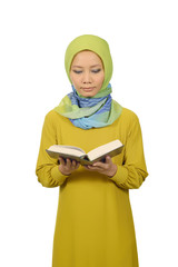 Woman In Hijab Reading Koran
