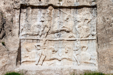 Naqsh-e Rustam, carving of the victory of Bahram II. Iran.